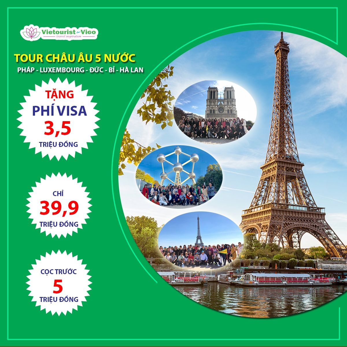Tour châu âu 5 nước 2019